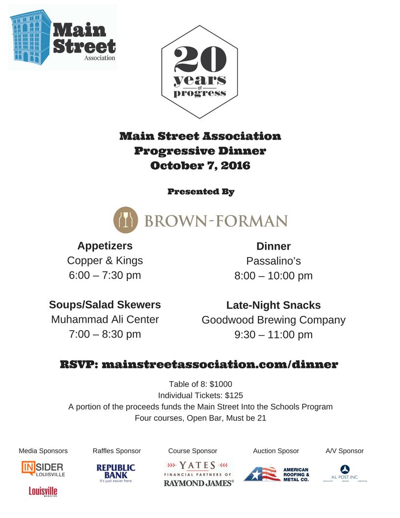 Main Street Association 20th Annual Progressive Dinner