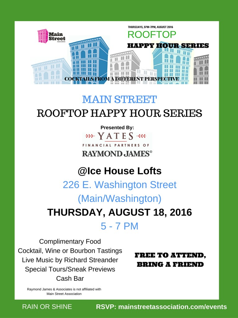 Main street association main street rooftop happy hour for King s fish house happy hour